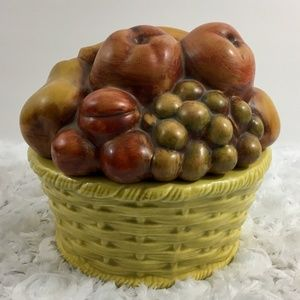 Vintage | Hand Painted Pottery with Fruit Lid